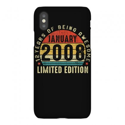 Vintage January 2008 Limited Edition 12th Bday 12 Years Old T Shirt Iphonex Case Designed By Cuser1744