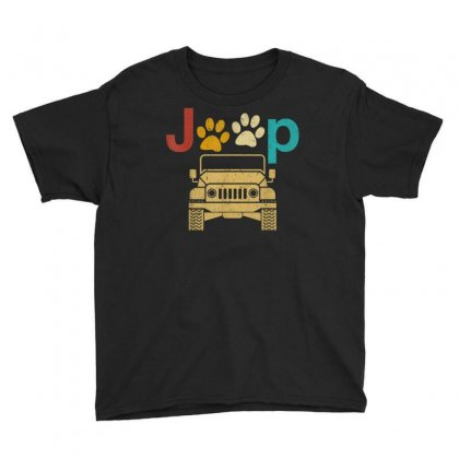 Vintage Jeeps Retro 70s Sunset Paw Print Dog Cat Lover Gift T Shirt Youth Tee Designed By Cuser1744