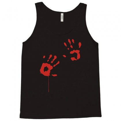 Bloody Hand Print Funny Zombie Kill Undead Blood Horror Killer Tank Top Designed By Ruliyanti