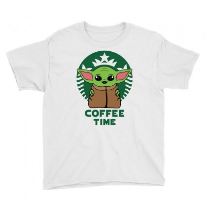 Baby Yoda Coffee Time Youth Tee Designed By Honeysuckle