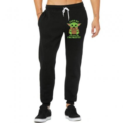 Baby Yoda Feed Me And Tell Me I'm Pretty Unisex Jogger Designed By Honeysuckle