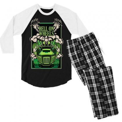 Hell On Wheels Version Two Men's 3/4 Sleeve Pajama Set Designed By Toldo