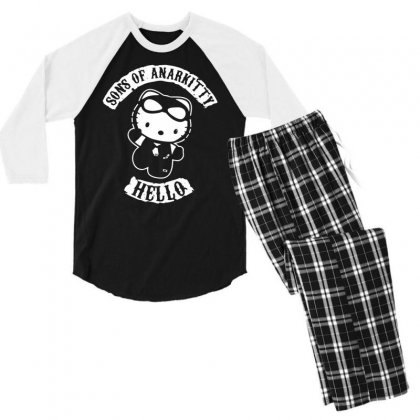 Hello Kitty Sons Of Anarchy Mashup Funny Men's 3/4 Sleeve Pajama Set Designed By Toldo