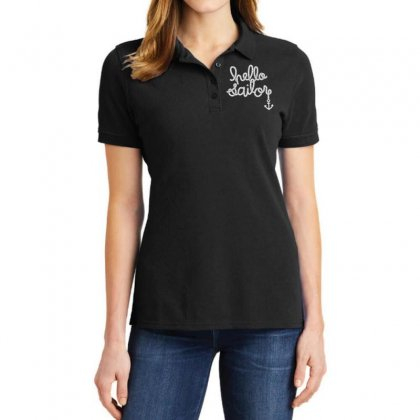 Hello Sailor Typography Ladies Polo Shirt Designed By Toldo
