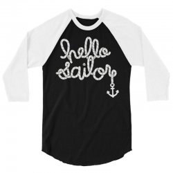 hello sailor typography 3/4 Sleeve Shirt | Artistshot