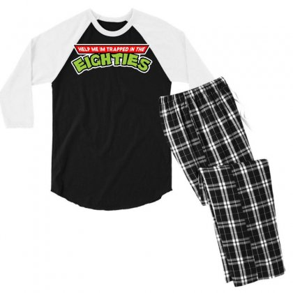 Help Me Im Trapped In The Eighties Men's 3/4 Sleeve Pajama Set Designed By Toldo