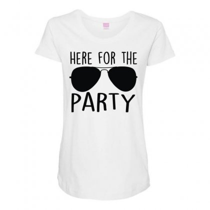 Here For The Party Maternity Scoop Neck T-shirt Designed By Toldo