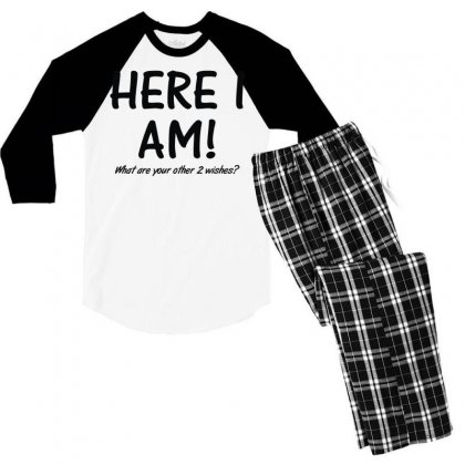 Here I Am What Are Your Other 2 Wishes (2) Men's 3/4 Sleeve Pajama Set Designed By Toldo