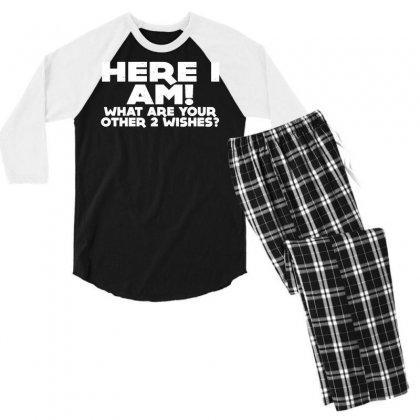 Here I Am What Are Your Other 2 Wishes Men's 3/4 Sleeve Pajama Set Designed By Toldo