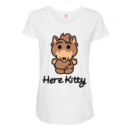 Here Kitty Maternity Scoop Neck T-shirt Designed By Toldo