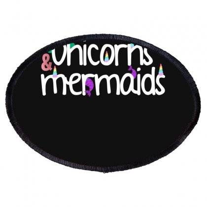 Unicorns And Mermaids For Dark Oval Patch Designed By Sengul