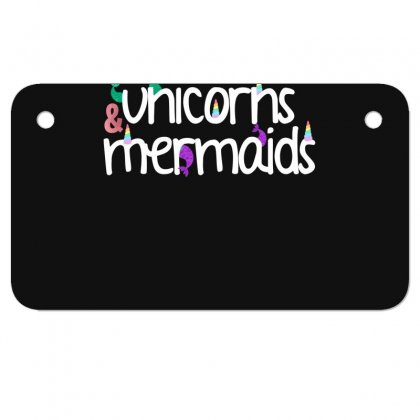 Unicorns And Mermaids For Dark Motorcycle License Plate Designed By Sengul
