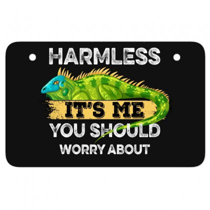 My Iguana Is Harmless It's Me You Should Worry About For Dark Atv License Plate Designed By Gurkan