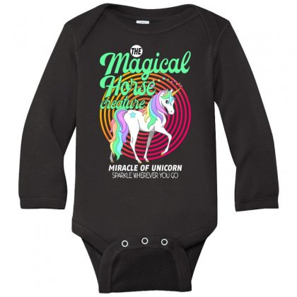 The Magical Horse Creature For Dark Long Sleeve Baby Bodysuit Designed By Gurkan