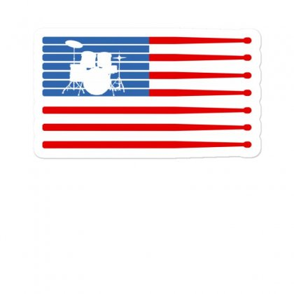 Drums American Flag Sticker Designed By Gurkan
