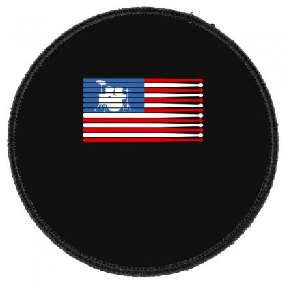 Drums American Flag Round Patch Designed By Gurkan