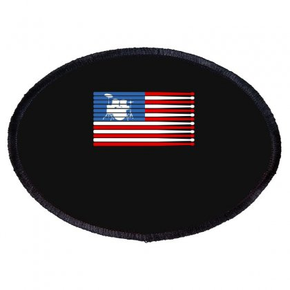 Drums American Flag Oval Patch Designed By Gurkan