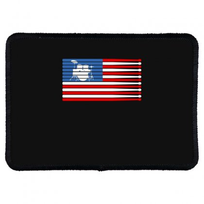 Drums American Flag Rectangle Patch Designed By Gurkan