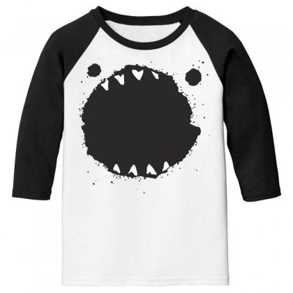 Mouth Monster Horror Youth 3/4 Sleeve Designed By Designisfun