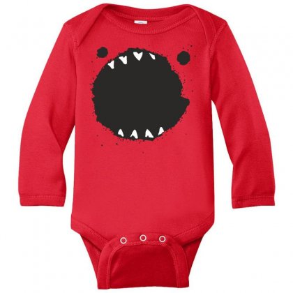 Mouth Monster Horror Long Sleeve Baby Bodysuit Designed By Designisfun