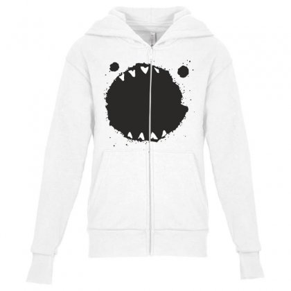 Mouth Monster Horror Youth Zipper Hoodie Designed By Designisfun