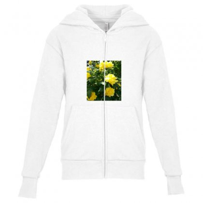 Yellow Roses In A Bush Youth Zipper Hoodie Designed By Thoughtcloud