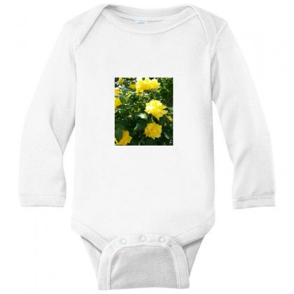 Yellow Roses In A Bush Long Sleeve Baby Bodysuit Designed By Thoughtcloud