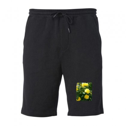 Yellow Roses In A Bush Fleece Short Designed By Thoughtcloud
