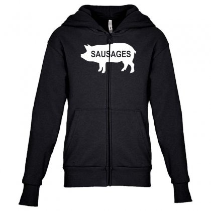 Pig Sausages Funny Youth Zipper Hoodie Designed By Nugraha