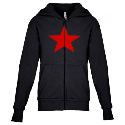 Red Star Army Youth Zipper Hoodie Designed By Nugraha