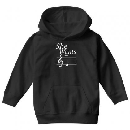 She Wants The D Black Youth Hoodie Designed By Nugraha