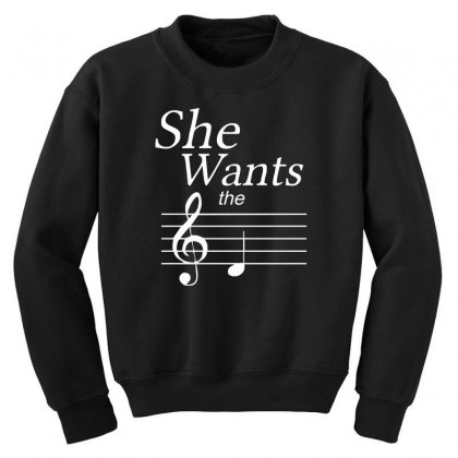 She Wants The D Black Youth Sweatshirt Designed By Nugraha