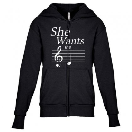 She Wants The D Black Youth Zipper Hoodie Designed By Nugraha