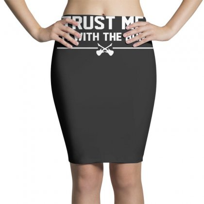 Trust Me, I'm With The Band   Musician Rockband Guitar Bass Jam Tee Pencil Skirts Designed By Nugraha