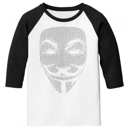V For Vendetta Mask Guy Fawkes Cool Girls Womens Cotton T Shirt Dw01 Youth 3/4 Sleeve Designed By Nugraha