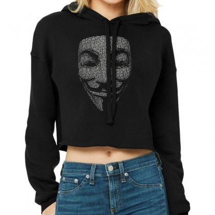 V For Vendetta Mask Guy Fawkes Cool Girls Womens Cotton T Shirt Dw01 Cropped Hoodie Designed By Nugraha