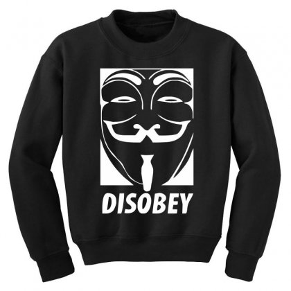 Disobey Anonymous Anon Vendetta Youth Sweatshirt Designed By Nugraha