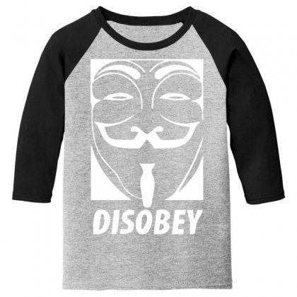 Disobey Anonymous Anon Vendetta Youth 3/4 Sleeve Designed By Nugraha