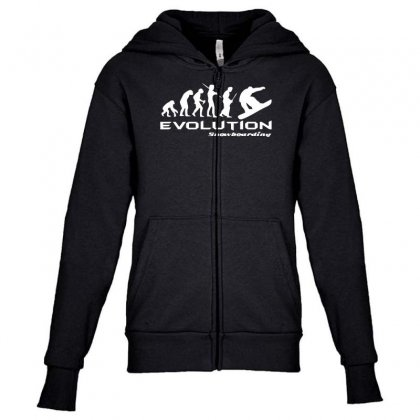 Evolution Of Snowboarding Funny Youth Zipper Hoodie Designed By Nugraha