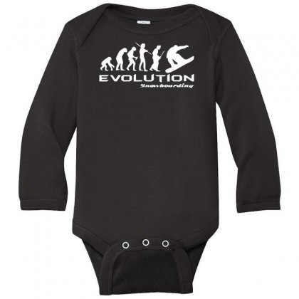 Evolution Of Snowboarding Funny Long Sleeve Baby Bodysuit Designed By Nugraha