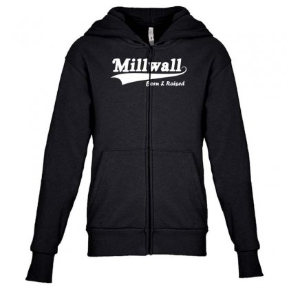 Millwall Born And Raised Retro Youth Zipper Hoodie Designed By Nugraha