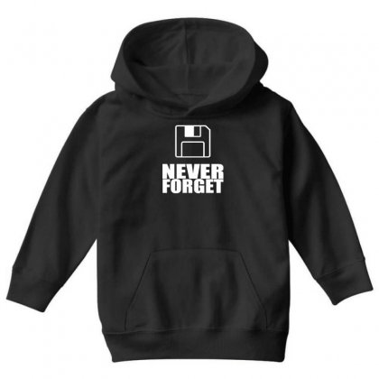 Never Forget 3.5 Floppies Youth Hoodie Designed By Nugraha