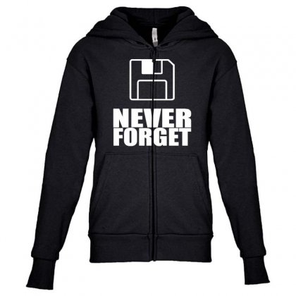 Never Forget 3.5 Floppies Youth Zipper Hoodie Designed By Nugraha