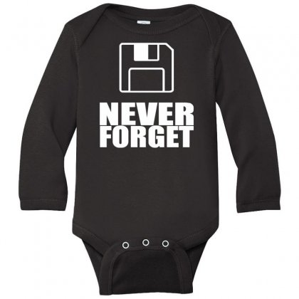 Never Forget 3.5 Floppies Long Sleeve Baby Bodysuit Designed By Nugraha