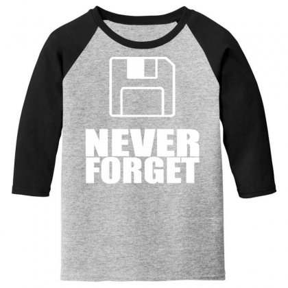 Never Forget 3.5 Floppies Youth 3/4 Sleeve Designed By Nugraha