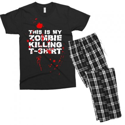 This Is My Zombie Killing Men's T-shirt Pajama Set Designed By Nugraha