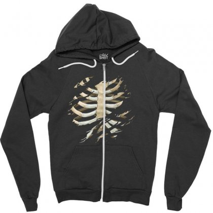 Torn Rib Cage Zipper Hoodie Designed By Nugraha