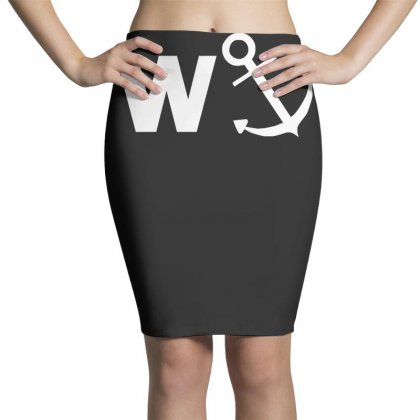 W Anchor Funny Pub Joke Pencil Skirts Designed By Nugraha