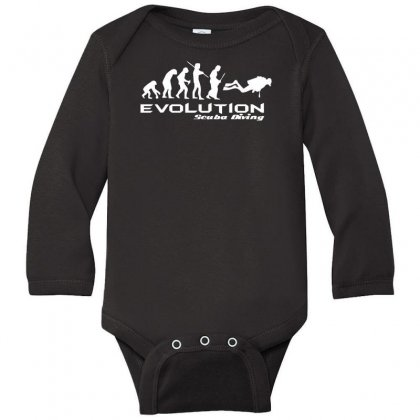 Evolution Of Scuba Divingfunny Swim Retro Sea Cool Boat Party Long Sleeve Baby Bodysuit Designed By Nugraha