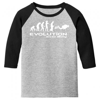 Evolution Of Scuba Divingfunny Swim Retro Sea Cool Boat Party Youth 3/4 Sleeve Designed By Nugraha